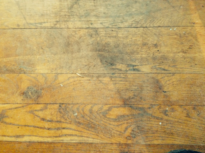 Floor prior to work commencing, tongue in groove oak boards