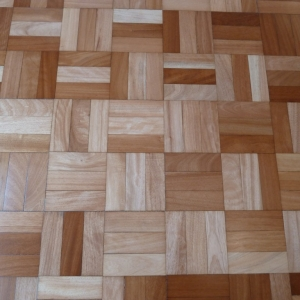 African Hardwood three fingered mosaic, after coating.