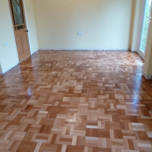 African Hardwood three fingered mosaic, after coating